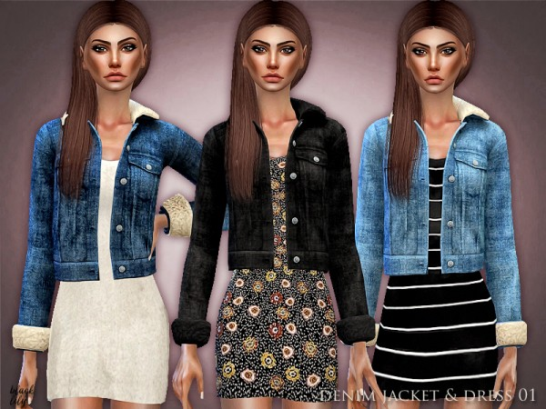 The Sims Resource: Denim Jacket and Dress 01 by Black Lily