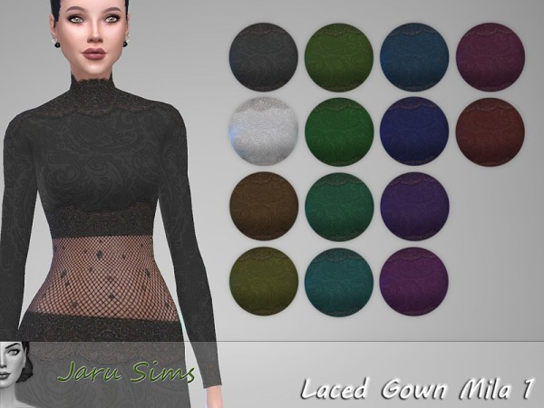 The Sims Resource: Laced Gown Mila 1 by Jaru Sims