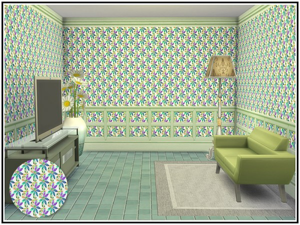 The Sims Resource: Pinwheel Daisy Walls by marcorse