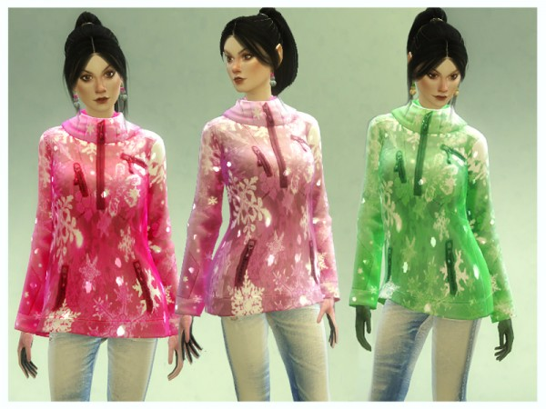The Sims Resource: Glittering Snowflake Winter Jacket by Nalae
