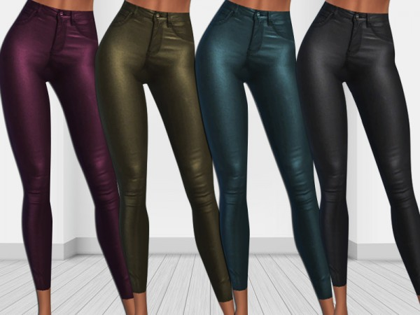 The Sims Resource: New Winter Trends Colorful Leather Skinny Pants by Saliwa