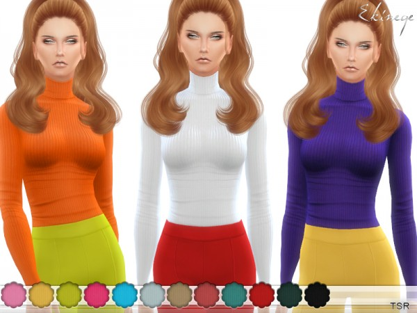 The Sims Resource: Ribbed Turtleneck Top by ekinege
