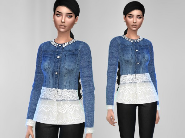 The Sims Resource: Denim Lace Top by Puresim