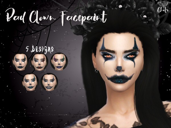 The Sims Resource: Bad Clown face Paint by MadameChvlr