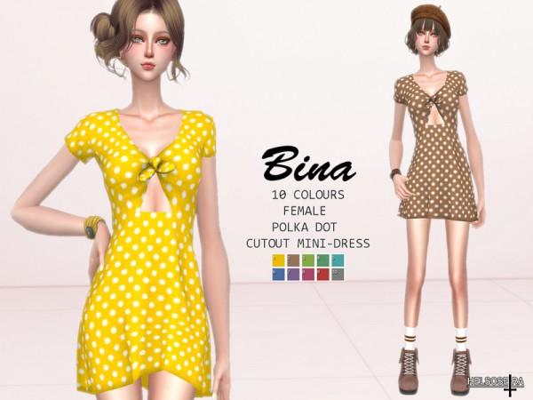 The Sims Resource: BINA   Cutout Mini Dress by Helsoseira