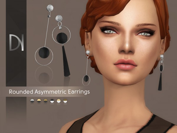 The Sims Resource: Rounded Asymmetric Earrings by DarkNighTt
