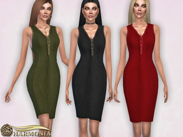 The Sims Resource: Ribbed Sleeveless Body con Dress by Harmonia