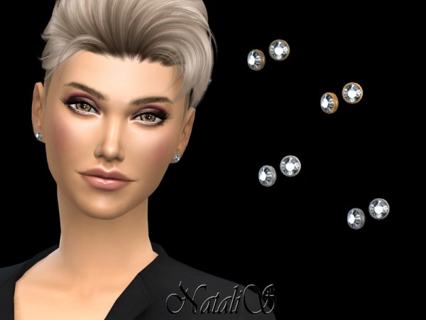 The Sims Resource: Round crystal stud earrings by NataliS