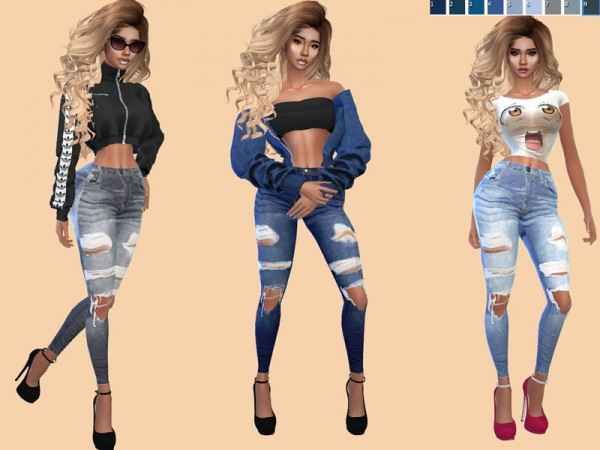 The Sims Resource: On the Run Skinny Jeans by Teenageeaglerunner