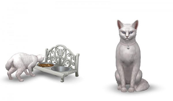 Around The Sims 4: Small dog and cat bed, food bowl and collar