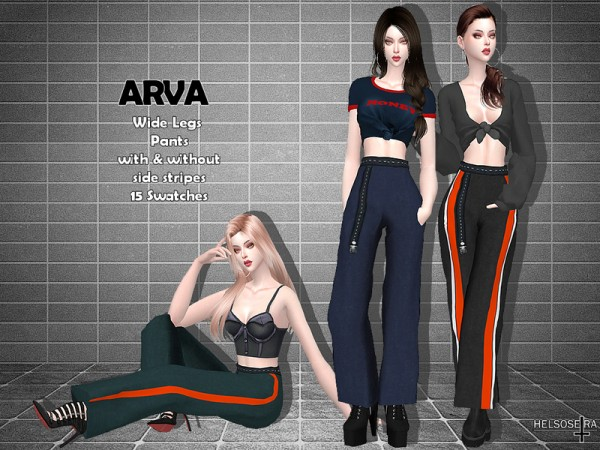 The Sims Resource: ARVA   Wide Leg Pants by Helsoseira