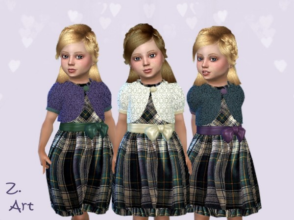 The Sims Resource: A pretty checked dress with lace bolero by Zuckerschnute20