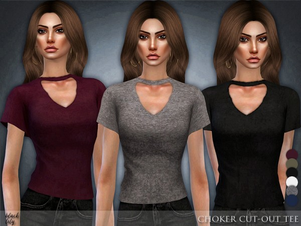 The Sims Resource: Choker Cut Out Tee by Black Lily
