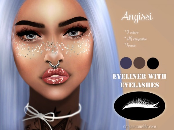 The Sims Resource: Eyeliner with eyelashes by ANGISSI