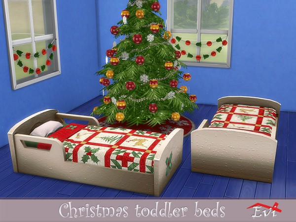 The Sims Resource: Christmas toddler beds by evi