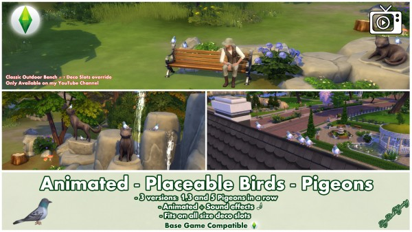 Mod The Sims: Animated   Placeable Birds   Pigeons by Bakie