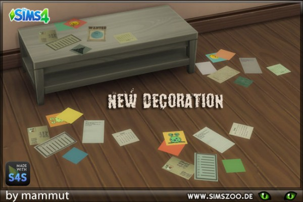 Blackys Sims 4 Zoo: Flying papers decor by mammut