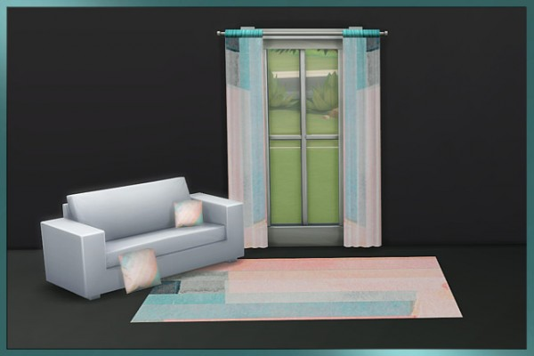 Blackys Sims 4 Zoo: Watercolor Harmony curtains by weckermaus