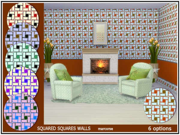 The Sims Resource: Squared Squares Walls by marcorse
