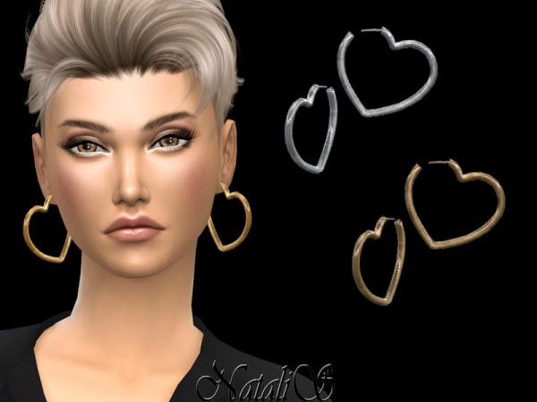 The Sims Resource: Heart shape hoop earrings by NataliS