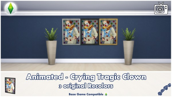 Mod The Sims: Crying Tragic Clown Painting by Bakie