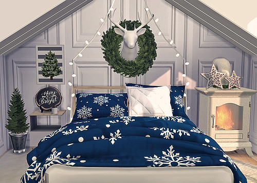 Blooming Rosy: Wintry Bedroom Set   Blanket and Pillows