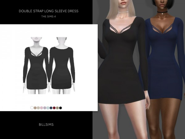 The Sims Resource: Double Strap Long Sleeve Dress by Bill Sims