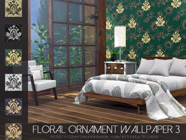 The Sims Resource: Floral Ornament Wallpaper 3 by Rirann