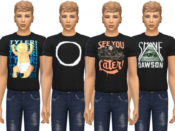 The Sims Resource: Snazzy Cuffed Tees by Wicked Kittie
