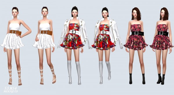 SIMS4 Marigold: Big Belt Frill Dress