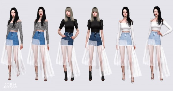 SIMS4 Marigold: Mesh Denim Long Skirt