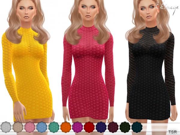 The Sims Resource: Long Sleeve Crochet Dress by ekinege