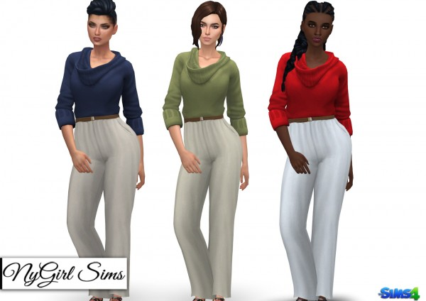 NY Girl Sims: Belted Sweater Jumpsuit