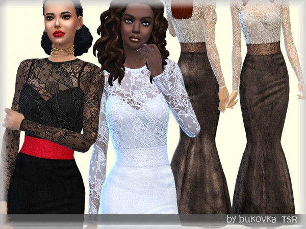 The Sims Resource: Dress Lace and Velvet by bukovka