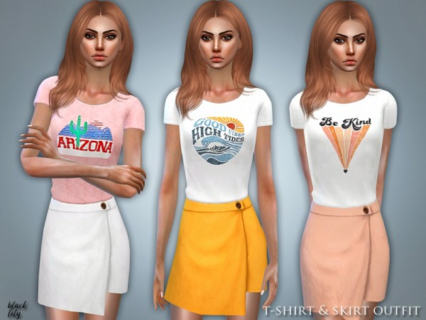 The Sims Resource: T Shirt and Skirt Outfit by Black Lily