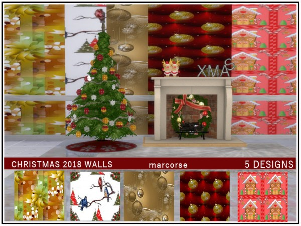 The Sims Resource: Christmas 2018 Walls by marcorse