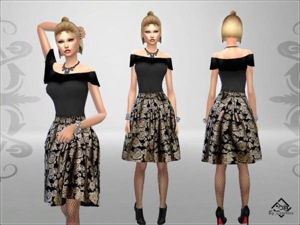 The Sims Resource: Elegant Damask Dress by Devirose