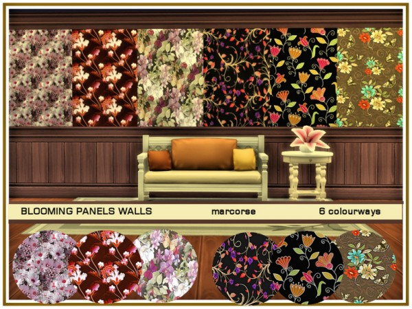 The Sims Resource: Blooming Panels Walls by marcorse