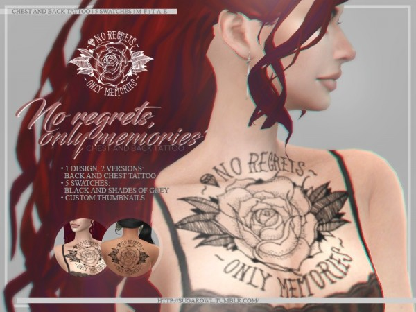 The Sims Resource: No regrets only memories tattoos by sugar owl