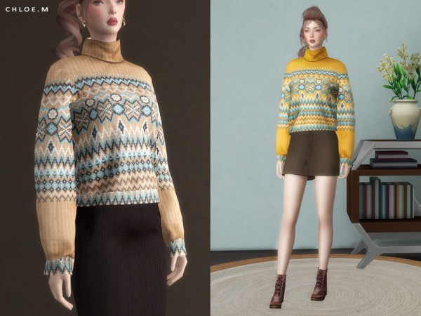 The Sims Resource: Bohemia Sweater by ChloeMMM