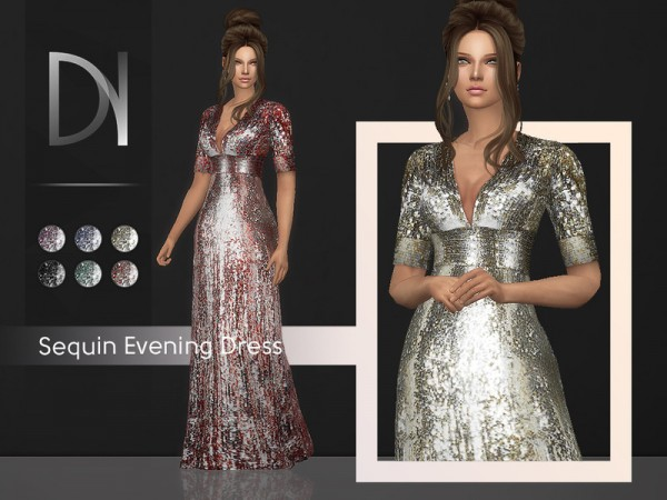 The Sims Resource: Sequin Evening Dress by DarkNighTt