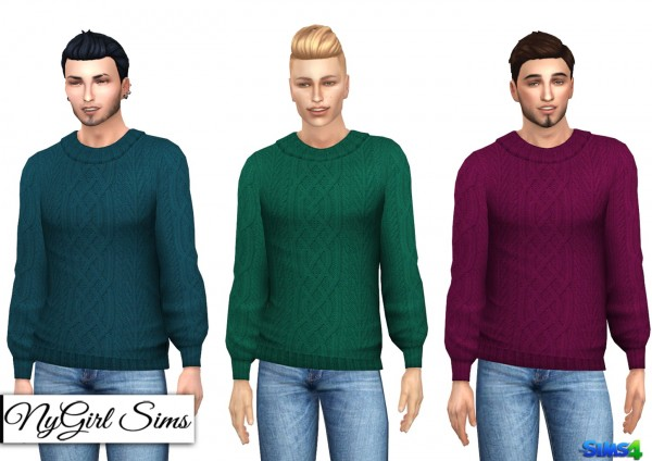 NY Girl Sims: Cable Knit Collared Sweater