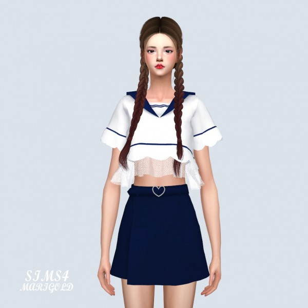 SIMS4 Marigold: Sailor Wave Crop Top