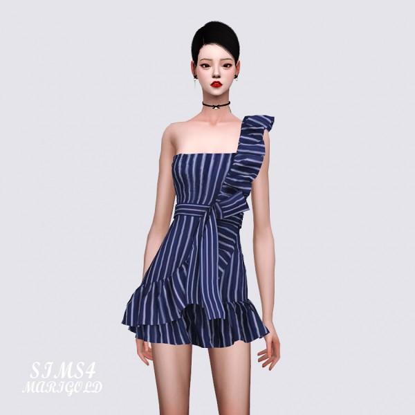 SIMS4 Marigold: One Side Shoulder Strap Dress