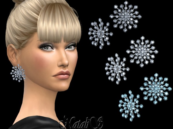 The Sims Resource: Round crystals snowflake earrings by NataliS