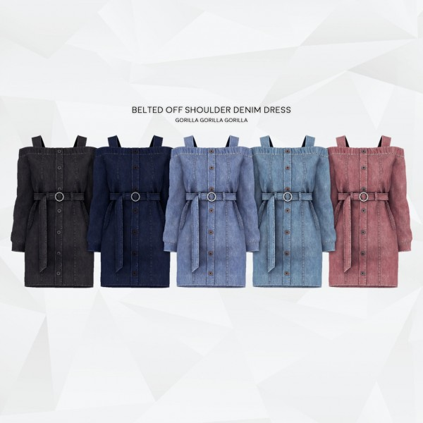 Gorilla: Belted Off Shoulder Denim Dress
