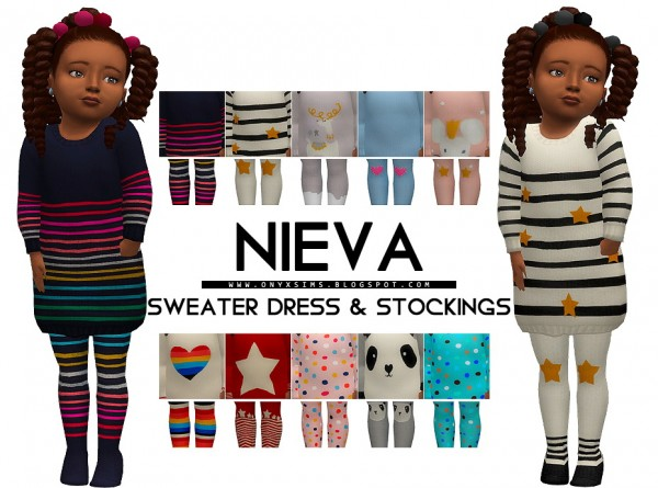 Onyx Sims: Nieva Sweater Dress and Tights