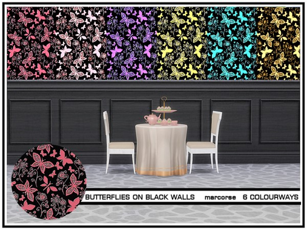 The Sims Resource: Butterflies on Black Walls by marcorse