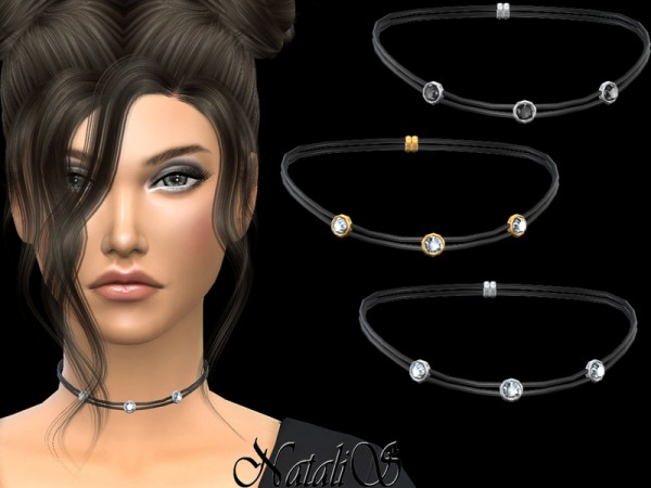 The Sims Resource: Double leather choker with crystals by NataliS