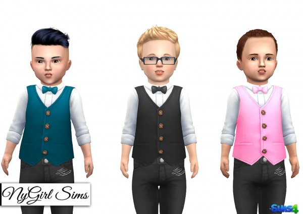 NY Girl Sims: Button Up with Vest and Bowtie